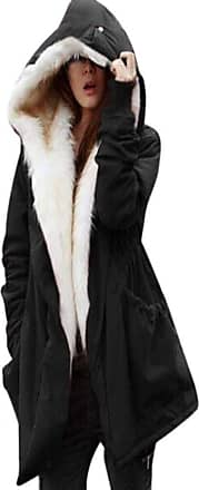 Saoye Fashion Ladies Quilted Jacket Autumn Winter Hooded Parka Loose Clothes Casual Winter Jacket Long Sleeve Synthetic Fur Lined with Pockets Zipper Coat Winter Co