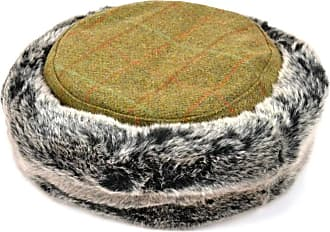 Hawkins Ladies Tweed hat Autumn Green with Flat Crown and Faux Fur Trim
