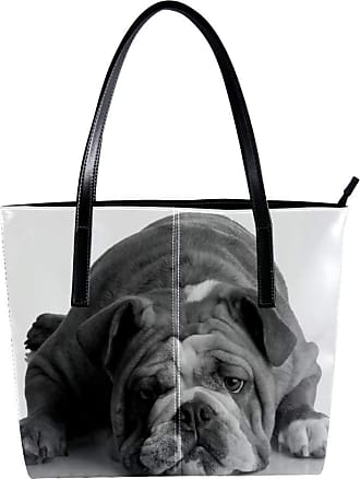Nananma Womens Bag Shoulder Tote handbag with Black Bulldog Print Zipper Purse PU Leather Top-handle Zip Bags