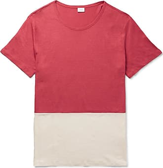 Onia Chad Colour-block Linen And Modal-blend Jersey T-shirt - Red