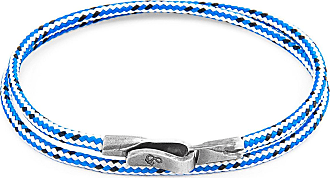 Anchor & Crew Blue Dash Liverpool Silver and Rope Bracelet - 19cm