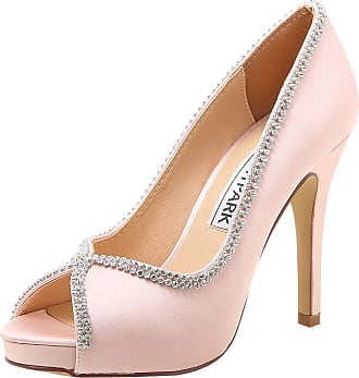 Elegantpark EP11083-IP Women High Heels Rhinestones Peep Toe Pumps Satin Bridal Party Court Shoes Pink UK 2