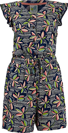 Weird Fish Suzanne Patterned Cap Sleeve Playsuit Navy Size 14