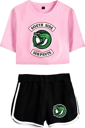 OLIPHEE Inspired Riverdale Jughead Jones Athleisure Tracksuits Crop Top T-Shirts and Shorts Southside Serpents Printed Suit for Women 4890 Pink Black S