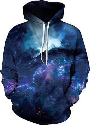 Ocean Plus Mens Digital Print Long Sleeve Hoody Hoodie Fun Halloween Cosplay Sweatshirt Hooded Sweat Unique Galaxy Pullover (L/XL (Chest: 114-134CM), Storm)