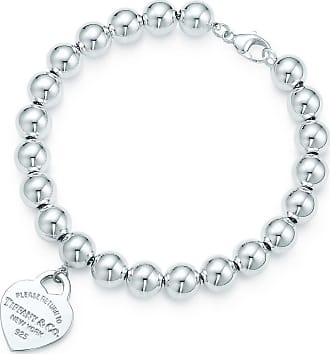 Tiffany & Co. Return to Tiffany small heart tag in sterling silver on a bead bracelet - Size 7.5 in