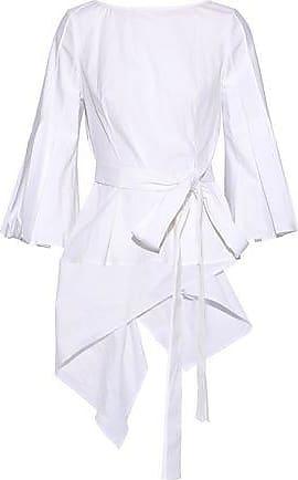 2b767aa292637d Carolina Herrera Carolina Herrera Woman Cotton-blend Poplin Wrap Top White  Size 10