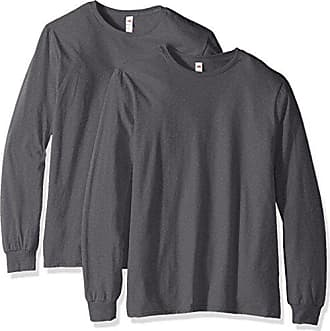 Fruit Of The Loom Mens Long Sleeve T-Shirt (2 Pack), Charcoal, Large