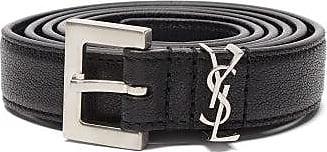 Saint Laurent Ysl-plaque Leather Belt - Mens - Black