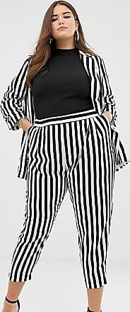 Asos Curve ASOS DESIGN Curve - Pantaloni da abito affusolati a righe monocromatiche grandi-Multicolore