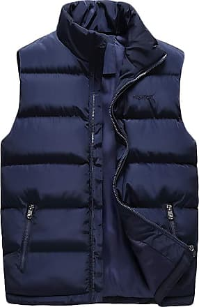 ZongSen Mens Lightweight Down Gilet Sleeveless Puffer Quilted Jacket Warm Cotton Blend Outdoor Coat Blue 3XL