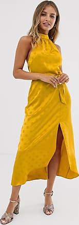 Miss Selfridge midi dress in self spot jacquard-Yellow