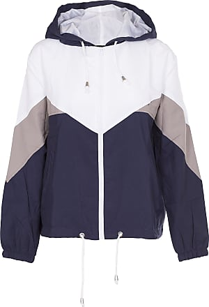 Noroze Women Hooded Panel Wind Breaker Jacket Summer Top (XL, Navy)