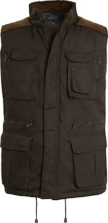 Shelikes Mens Gilet Waistcoat Safari Multi Pocket Country Clothing Padded Waistcoat Zip Top[Olive, 2XL(Chest 46 in)]