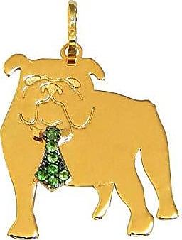 Prado Joias Pingente Em Ouro 18k Cachorro Bulldog Inglês Com Esmeraldas