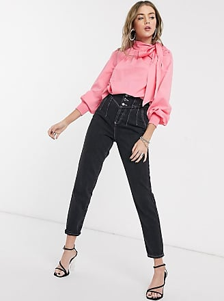 Topshop poplin blouse with pussybow tie in pink
