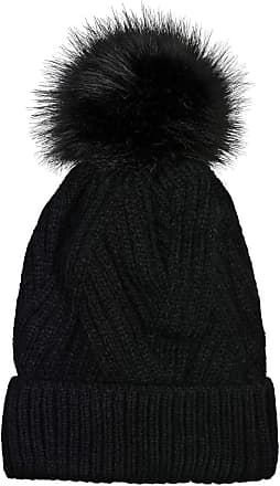 styleBREAKER Women Knit Pompom hat with Diagonal Ribbed Knit Pattern and Fleece Lining, Winter Fur Bobble hat 04024167, Color:Black
