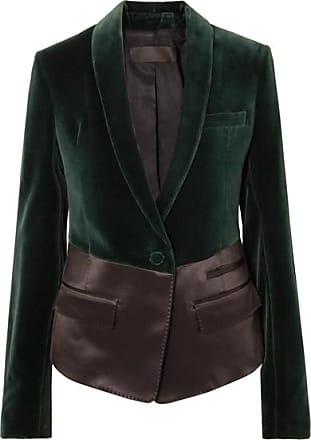 Haider Ackermann Two-tone Satin And Velvet Blazer - Emerald