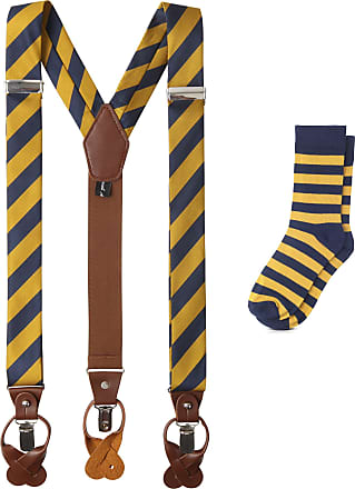 Jacob Alexander Matching College Stripe Suspenders and Dress Socks - Gold Navy
