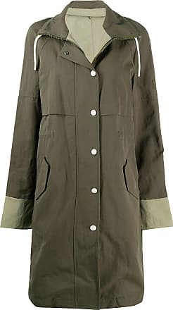Yves Salomon - Army high drawstring neck panelled coat - Green