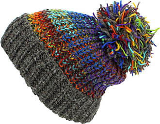 Loud Elephant Wool Knit Beanie Bobble Hat - Blue Multi