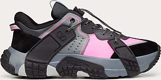 Valentino Garavani Valentino Garavani Uomo Vltn Wod Sneaker In Fabric, Calfskin And Suede Man Black/pink 100% Pelle Di Vitello - Bos Taurus 40.5