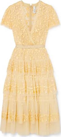 Needle & Thread Angelica Tiered Embroidered Tulle Midi Dress - Yellow