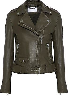 5ae0c793ca9600 Muubaa Muubaa Woman Leather Biker Jacket Army Green Size 12