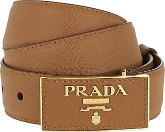 c47b42099f14b Prada Square Buckle Belt Leather Saffiano Caramel Gürtel cognac