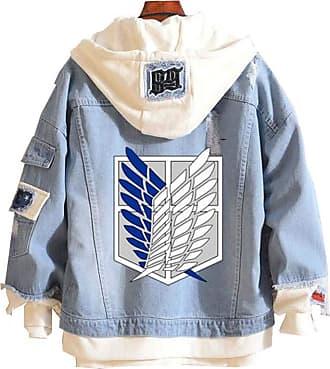 Cosstars Attack on Titan AOT Anime Denim Hoodie Jacket Adult Cosplay Jeans Coat 1 XXXL