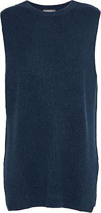 N.Peal N.peal Woman Ribbed Cashmere Top Storm Blue Size XS