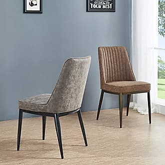 New Pacific Direct 3400028-267 Walker PU Leather, Set of 2 Dining Chairs, Kalahari Brown