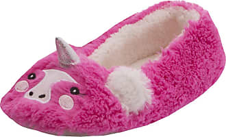 Forever Dreaming Ladies Womens Novelty Faux Fur Unicorn Slipper Textile Sole Indoor Comfort Hot Pink 7-8