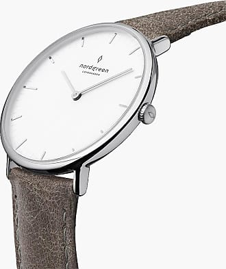 Nordgreen Native | White Dial - Patina Grey Leather - 40mm / Rose Gold