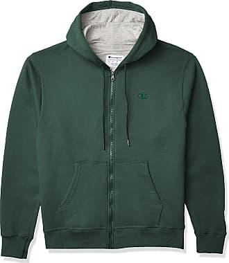 Champion mensS0891Powerblend Full-Zip Hoodie Long Sleeve Warm Up or Track Jacket - Green - Large