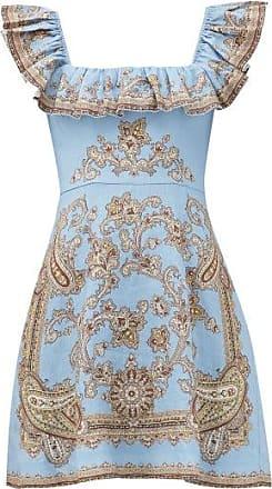 Zimmermann Fiesta Ruffled Paisley-print Linen Dress - Womens - Blue Print