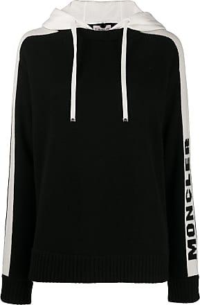 Moncler Agasalho de tricô com capuz e logo - Preto