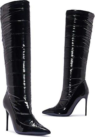 Truffle Patent Knee Heel Boots Womens Long High Shine Black Slim Heels Shoes - Black - UK 5