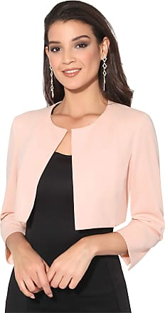 Krisp Women Cropped Jacket Open Shrug 3/4 Sleeve Bolero Evening Blouse (Pink, XL) 9176-PNK-XL