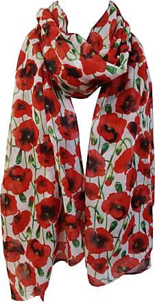 GlamLondon Poppy Print Scarf Red Perfect Poppies Flower Printed Fashion Ladies Womens Classy Big Wrap (P-7182-White)(Size:L)
