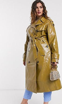 Asos Curve ASOS DESIGN Curve vinyl trench coat in khaki-Green