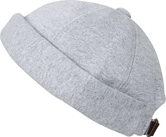 Ililily Solid Color Cotton Short Beanie Strap Back Casual Hat Soft Cap, Grey