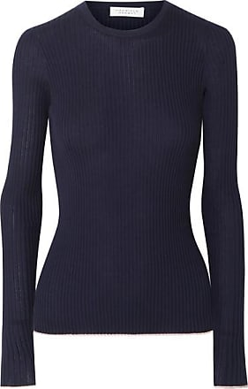 Gabriela Hearst Browning Ribbed Cashmere And Silk-blend Sweater - Navy