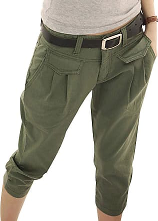 Inlefen Womens Summer Cropped Trousers Motion Casual Pants Pocket Slim fit Pants (Army Green 2XL)