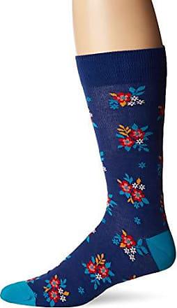 Hot Sox Mens Conversation Starter Novelty Casual Crew Socks, ditzy floral (dark Blue), Shoe Size: 6-12