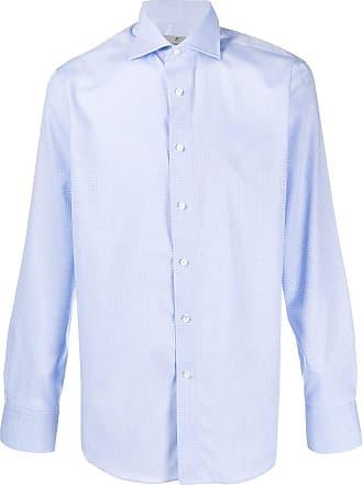 Canali Camisa de algodão com abotoamento - Azul
