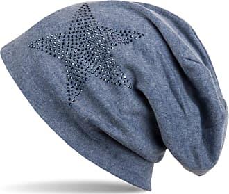 styleBREAKER Warm Beanie hat with Star Rhinestone Application, Unisex 04024023, Color:Denim Blue-Blue