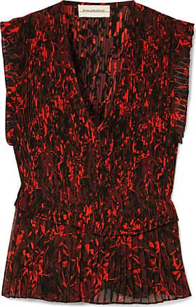 By Malene Birger Orca Pleated Printed Chiffon Blouse - Black