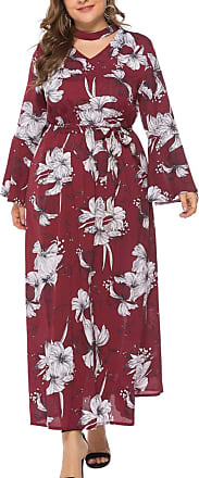 FeelinGirl Womens Maxi Dress Flower Print Keyhole Backline Large Size Dress Casual Skirt with Long Sleeves Red XL