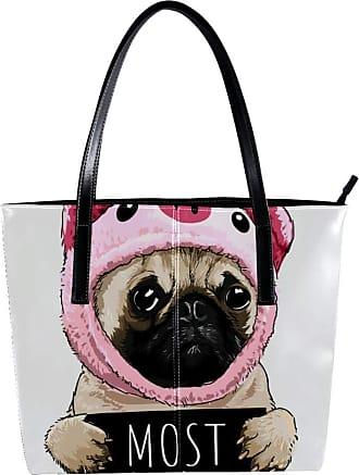 Nananma Womens Bag Shoulder Tote handbag with Cute Pug Wearing Pig Animals Print Zipper Purse PU Leather Top-handle Zip Bags